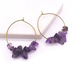 🆕💎 Amethyst Purple Smooth Gold Hoop Earrings